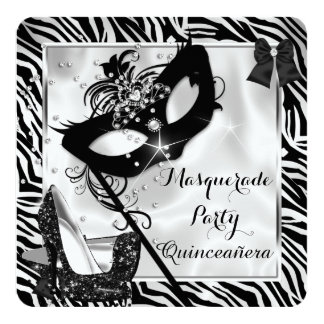 Black White Zebra Masquerade Quinceanera High Heel Card