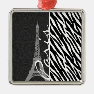 Black & White Zebra; Paris Christmas Ornament