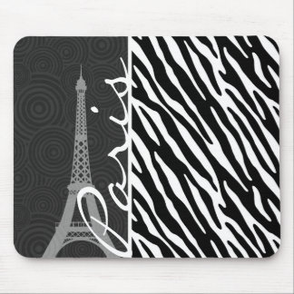 Black & White Zebra; Paris Mouse Pad