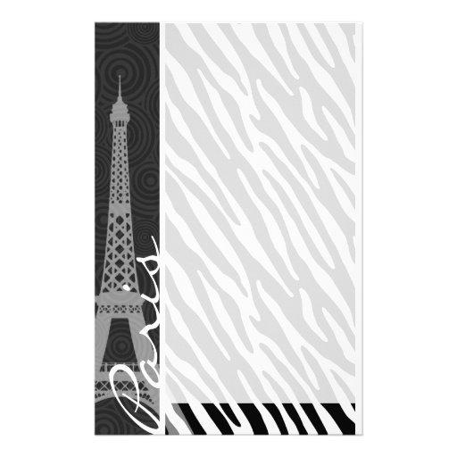 Black & White Zebra; Paris Stationery Paper