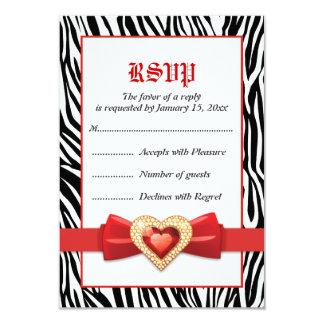 Black white zebra print & red jewel wedding RSVP 9 Cm X 13 Cm Invitation Card