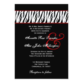 Black White Zebra Red Accents Wedding Z002 13 Cm X 18 Cm Invitation Card