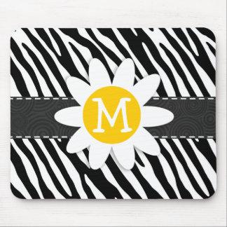 Black & White Zebra; Spring Daisy Mouse Pad