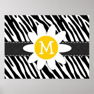 Black White Zebra Spring Daisy Print