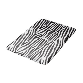 Black White Zebra Stripes Animal Print Bath Mat
