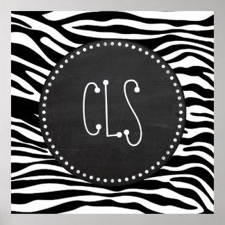 Black White Zebra Stripes Chalkboard Posters