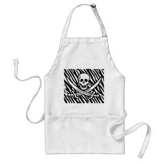 Black & White Zebra Stripes Jolly Roger Pirate Aprons