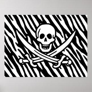 Black White Zebra Stripes Jolly Roger Pirate Print