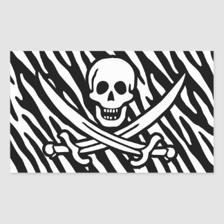Black White Zebra Stripes Jolly Roger Pirate Sticker