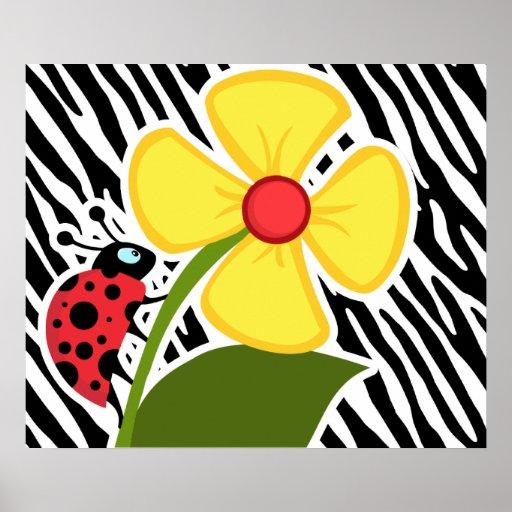 Black & White Zebra Stripes; Ladybugs Print