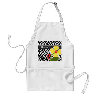 Black & White Zebra Stripes; Ladybugs Standard Apron