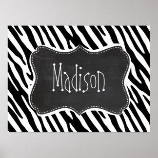 Black & White Zebra Stripes; Vintage Chalkboard Poster