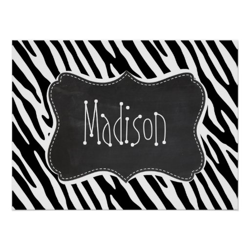 Black & White Zebra Stripes; Vintage Chalkboard Print