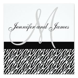 Black White Zebra Stripes Wedding Invitation