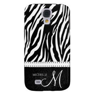Black & White Zebra stripes with Black damask Galaxy S4 Cases