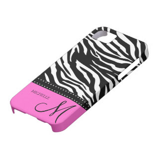 Black & White Zebra stripes with hot pink iPhone 5 Case