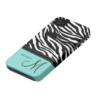 Black & White Zebra stripes with teal blue iPhone 4 Cover