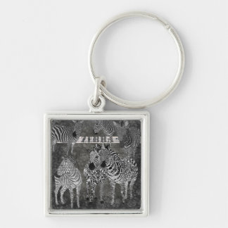 Black & White Zebras Keychain