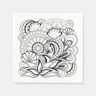 black&white zen pattern disposable napkins