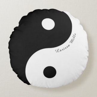 black/white zen yin-yang symbol with name round cushion