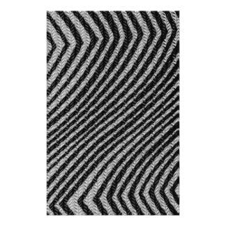 Black & White Zig Zag Pattern Custom Stationery