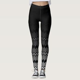 Black & White Zig Zag Pattern Under Black Ombre Leggings