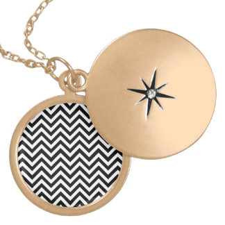 Black & White zigzag Round Locket Necklace