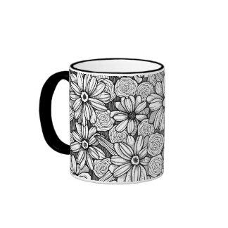 Black & White Zinnia Floral (11 oz. mug) Ringer Mug