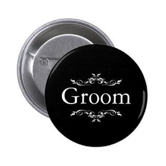 Black & Whitee Floral Swirl Border Groom 6 Cm Round Badge