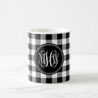 Black Wht Buffalo Check Plaid 3 Init Vine Monogram Coffee Mug