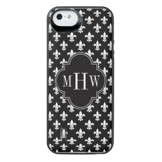 Black Wht Fleur de Lis Black 3 Initial Monogram iPhone SE/5/5s Battery Case
