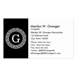 Black Wht Greek Key Rnd Frame Initial Monogram Business Card Templates