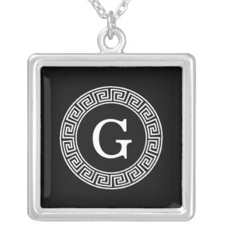 Black Wht Greek Key Rnd Frame Initial Monogram Silver Plated Necklace