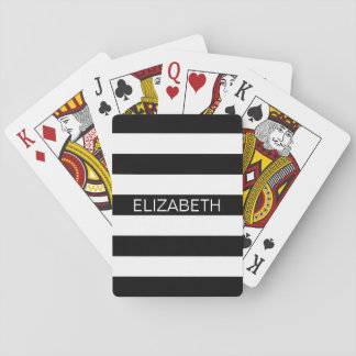 Black Wht Horiz Preppy Stripe Name Monogram Playing Cards