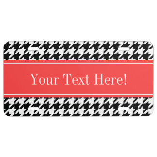 Black Wht Houndstooth Coral Red Name Monogram License Plate