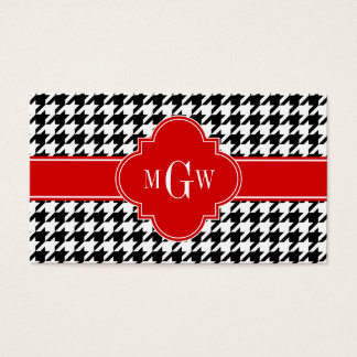Black Wht Houndstooth Red Quatrefoil 3 Monogram Business Card