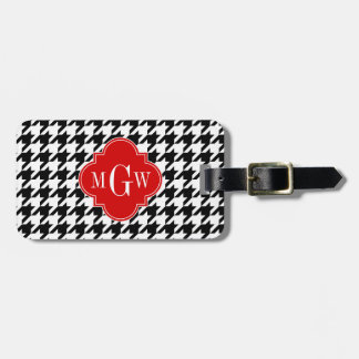 Black Wht Houndstooth Red Quatrefoil 3 Monogram Luggage Tag