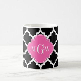 Black Wht Moroccan #5 Hot Pink #2 Name Monogram Mug