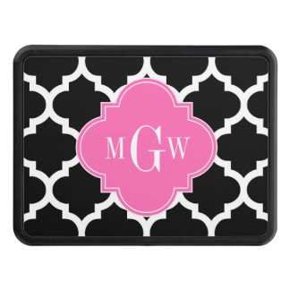Black Wht Moroccan #5 Hot Pink #2 Name Monogram Tow Hitch Cover