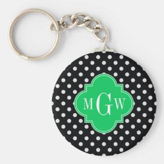 Black Wht Polka Dot Emerald Quatrefoil 3 Monogram Basic Round Button Key Ring