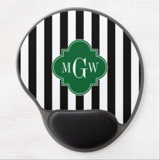 Black Wht Stripe Forest Quatrefoil 3 Monogram Gel Mouse Pad