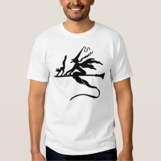 Black Wicked Witch and Cat flying on Broomstick T Shirts