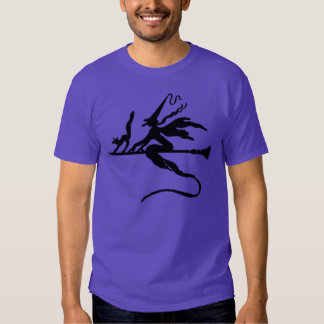 Black Wicked Witch and Cat flying on Broomstick Tee Shirt