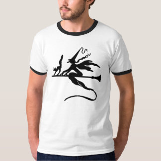 Black Wicked Witch and Cat flying on Broomstick Tshirts