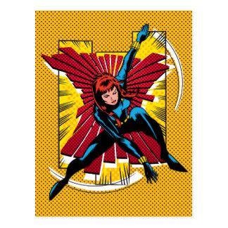 Black Widow Action Comic Graphic Postcard