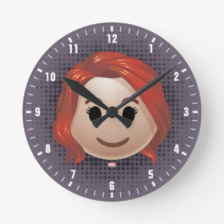 Black Widow Emoji Round Clock