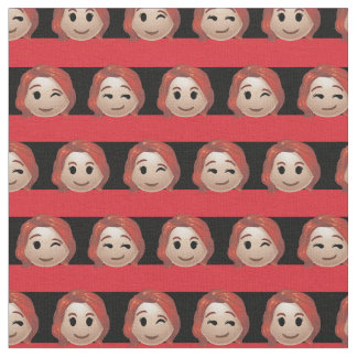 Black Widow Emoji Stripe Pattern Fabric