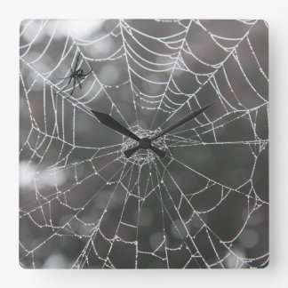 Black Widow in Spider Web | Halloween Square Wall Clock