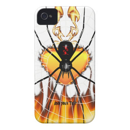 Black Widow on Heart of Fire iPhone 4 Case-Mate Case