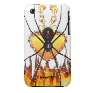 Black Widow on Heart of Fire iPhone 3 Case-Mate Cases